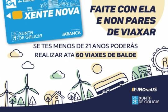 A Tarxeta Xente Nova ofrece 60 viaxes interurbanas gratis cada mes por toda Galicia a menores de 21 anos